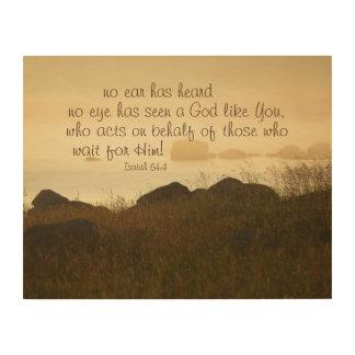 Isaiah 64:4 Bible Verse Beautiful Ocean Shorline Wood Wall Art