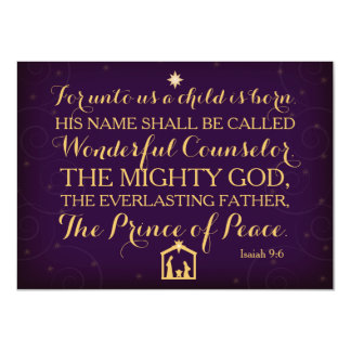 Isaiah 9:6 For Unto Us A Child Is Born Card