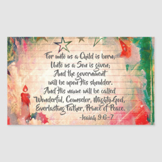 """Isaiah 9:6 """"For unto us a Child is Born"""" Christmas Rectangular Sticker"""