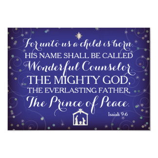 """Isaiah 9:6 For Unto Us A Child Is Born 4.5"""" X 6.25"""" Invitation Card"""