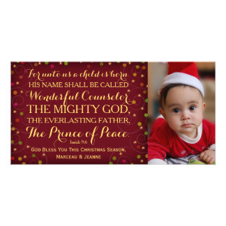 Isaiah 9:6 For Unto Us A Child Is Born Photo Card Template