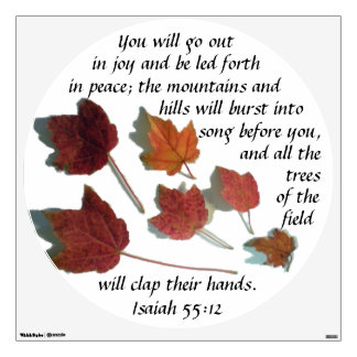 Isaiah Fifty-five Twelve Scattered Maple Leaves Wall Sticker