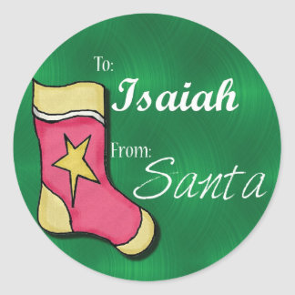Isaiah Personalized Christmas Label60 Classic Round Sticker