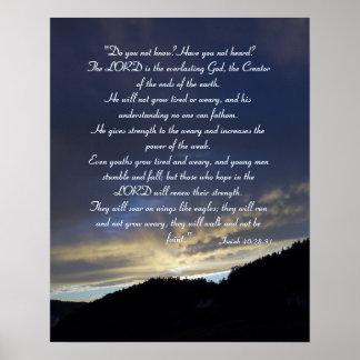 Isaías 40; 28- 31% el pipe% inspirado póster