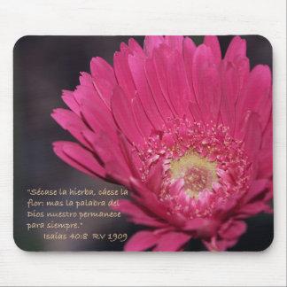 Isaias 40:8 con Margarita Rosada Mouse Pad
