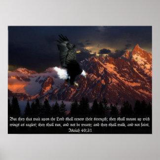 Isaih 40:31 Scripture Eagle Portrait Poster