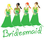 bridesmaids in green favors