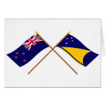 New Zealand and Tokelau Crossed Flags Card