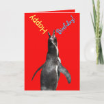Happy Birthday! Shouting Penguin Funny Card