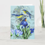 Vintage Floral Songbirds Apparel and Gifts Card