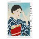 100 Figures of Beauties Wearing Takasago Kimonos Card