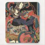 Vintage Japanese Red Dragon Mouse Pad