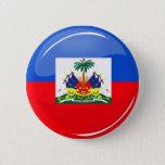 Glossy Round Haitian Flag Button