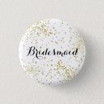 Cute Gold Glitter Bridesmaid Button