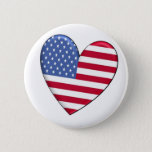 United States Heart Flag Button