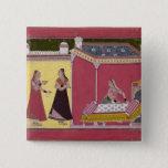 Preparing the Bed, Bilaspur, c.1690-1700 Pinback Button