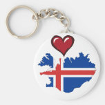 Iceland country flag red heart keychain
