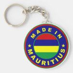 made in mauritius country flag product label round keychain