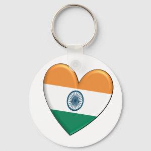 India Heart Flag Keychain