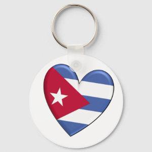 Cuba Heart Flag Keychain