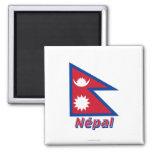 Drapeau Népal avec le nom en français Magnet