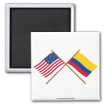 US and Colombia Crossed Flags Magnet