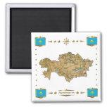 Kazakhstan Map + Flags Magnet