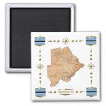 Botswana Map + Flags Magnet