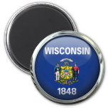 Wisconsin State Flag Round Glass Ball Magnet