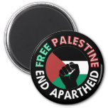 Free Palestine End Apartheid Flag Fist Black Magnet