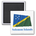 Solomon Islands Waving Flag with Name Magnet