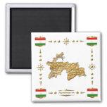 Tajikistan Map + Flags Magnet