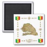 Senegal Map + Flags Magnet