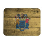 Old Wood New Jersey Flag; Magnet