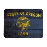 Oregon State Flag on Old Wood Grain Magnet