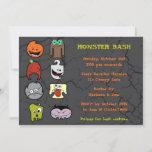 Cute Little Mnster Halloween Bash Card
