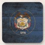 Utah State Flag on Old Wood Grain Beverage Coaster