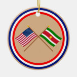 US and Suriname Crossed Flags Ceramic Ornament