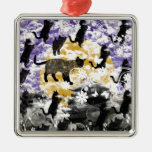 Matsuyama castle and flower and cat metal ornament