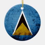Black Grunge Saint Lucia Flag Ceramic Ornament