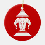Erawan Three Headed Elephant Lao / Laos Flag Ceramic Ornament