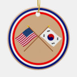 US and South Korea Crossed Flags Ceramic Ornament