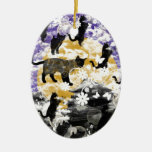 Matsuyama castle and flower and cat ceramic ornament