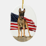Belgian Malinois with Flag ornament