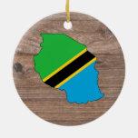Team tanzania Flag Map on Wood Ceramic Ornament