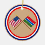 US and Gambia Crossed Flags Ceramic Ornament