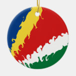 Seychelles Gnarly Flag Ceramic Ornament