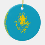 Kazakhstan Gnarly Flag Ceramic Ornament