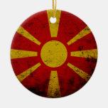 Black Grunge Macedonia Flag Ceramic Ornament