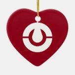 Kochi Flag Heart Ceramic Ornament